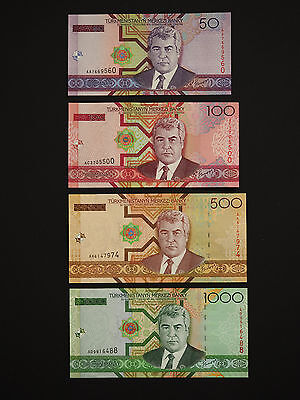 TURKMENISTAN BRILLIANTLY COLOURED - Banknote Set Of  4   ( ALL 2005 )  Mint  UNC