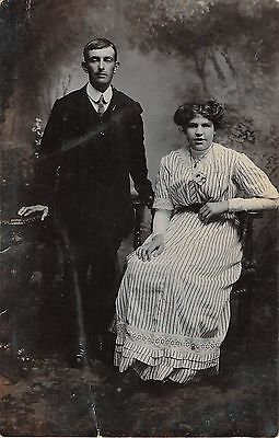 People Postcard Edwardian YounG Couple Man Women Real Photo RPPC  H3 058