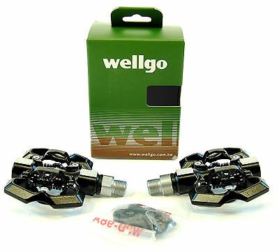Wellgo M221 Platform/Clipless Shimano SPD Compatible Bicycle Pedals WITH CLEATS