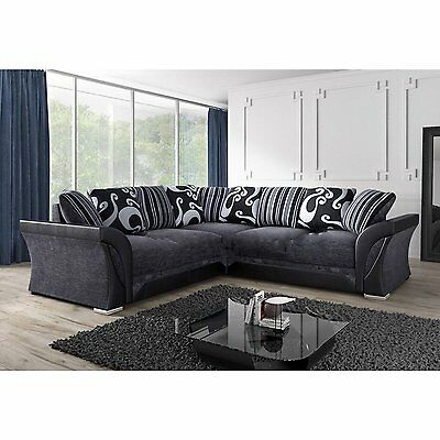 FARROW LEATHER & CHENILLE FABRIC CORNER SOFA, 2+3 SEATER in BLACK or BROWN