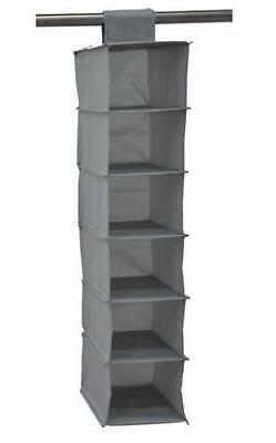 6 Shelf / Section Hanging Wardrobe Shoe Garment Organiser Storage Clothes Tidy