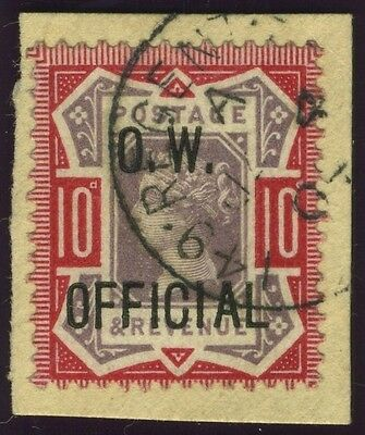 Sg O35 10d Dull Purple & Carmine O.W. OFFICIAL.  A superb used example on piece