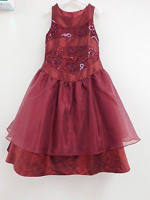Job Lot Girl dresses x 5 Burgundy beaded party dresses ages 7 to 12 years