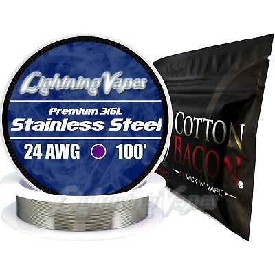 24 Gauge AWG Stainless Steel 316L 100' + Cotton Bacon V2 - 10 Strips - Bundle