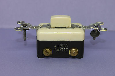 Vintage Arrow-H&H Tap Push Button Light Switch -Ivory - 4-WAY - RARE - TESTED