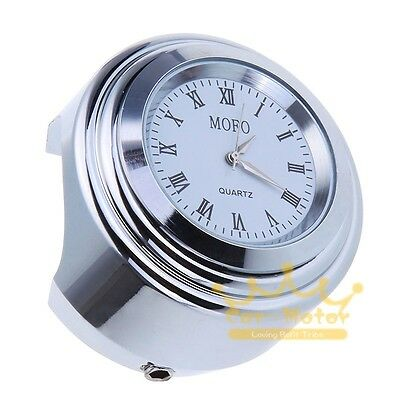 Motorcycle 7/8'' 1'' Handlebar Chrome Mount Clock with Roman Numbers Universal