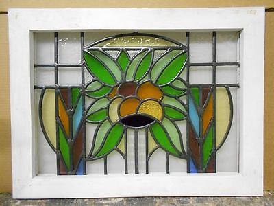 "MID SIZED OLD ENGLISH LEADED STAINED GLASS WINDOW Sweet Floral 23.25"" x 17.25"""