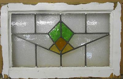 "MID SIZED OLD ENGLISH LEADED STAINED GLASS WINDOW Sweet Geometric 24.5"" x 15.5"""