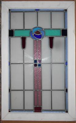 """LARGE OLD ENGLISH LEADED STAINED GLASS WINDOW Stunning Floral 20.25"""" x 32.5"""""""