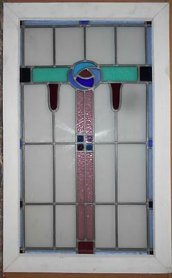 "LARGE OLD ENGLISH LEADED STAINED GLASS WINDOW Stunning Floral 20.25"" x 32.5"""