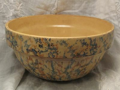 "Antique Red Wing Stoneware Sponge Spongeware 9"" Ribbed Mixing Bowl blue rust"