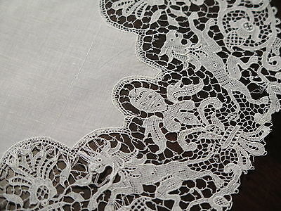 Vtg Antique French Schiffli Lace Linen Oval Figural Lions! Doily Placemat