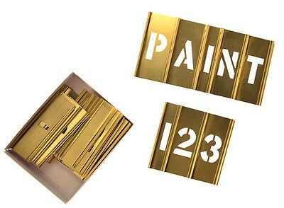 "SET OF HANSON CHH-10068 - 1"" (25mm) INTERLOCKING LETTER & NUMBER BRASS STENCILS"