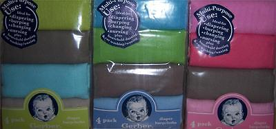 New Gerber 4 pk Solid Diapers, Baby Shower, Burp cloth, Diaper Cake