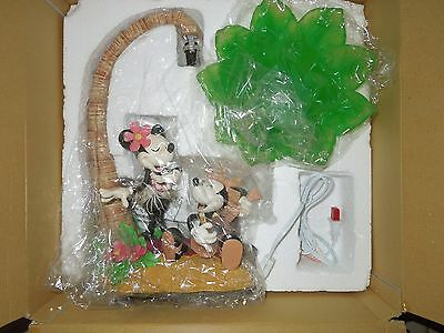NIB NRFB Disney Catalog Exclusive Mickey & Minnie Hawaiian Island Palm Hula Lamp