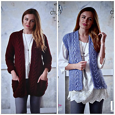KNITTING PATTERN Ladies Long Cable Cardigan Pockets & Waistcoat Chunky KC 4723