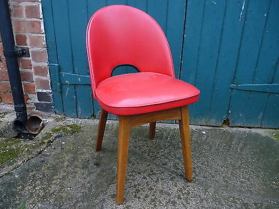 Vintage Retro 1960's Mid Century Ben Chair In Red Vinyl and Elm