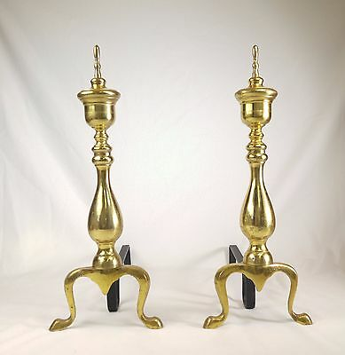 Vintage Pair of Large Brass Fireplace Andirons Contemporary Design