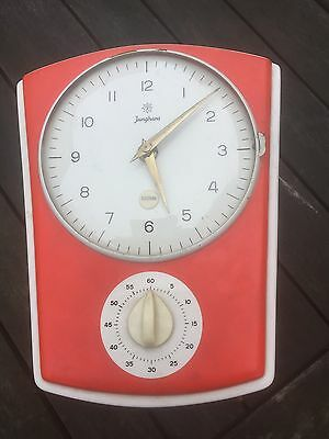 junghans 1950s or 60s  red kitchen clock with timer.