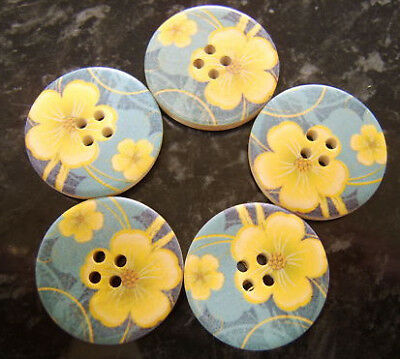 5 Large Wooden Yellow Buttercup Blue Buttons 30mm