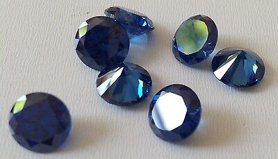 Blue Sapphire Cubic Zircon Loose Stones Round  10mm CZ IF Lots - USA -AAA