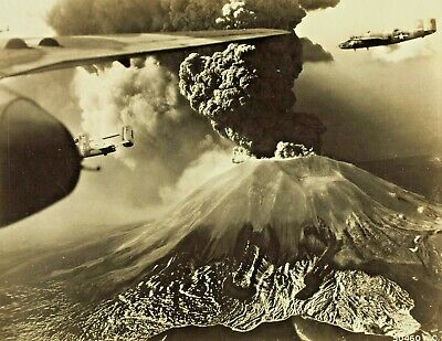 B-25 Mitchell bomber-Flying near Mount Vesuvius during its last Eruption-1944