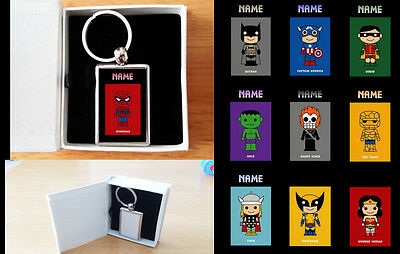 PERSONALISED SUPER HEROES LUXURY METAL KEYRING - With Gift Box - Christmas Party