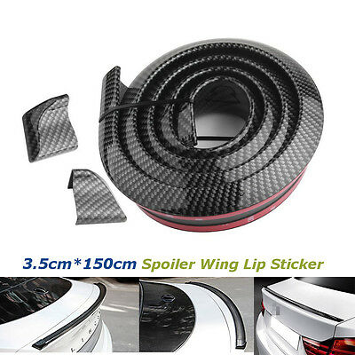 Carbon Fiber Car PU Rear Roof Spoiler Trunk Pumber Wing Lip Sticker 4.9ft 1.5M