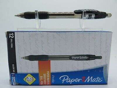 12 x BLACK Papermate Profile Ballpoint Pen Retractable 1.4mm FREE POST