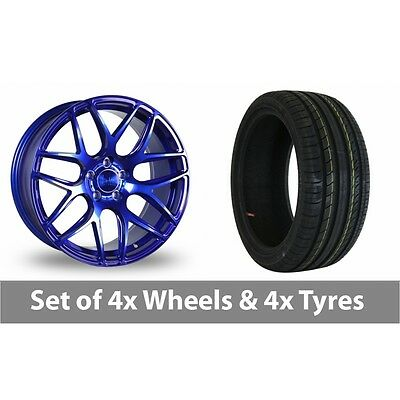 "4 x 18"" Bola B8R Candy Blue Alloy Wheel Rims and Tyres -  225/40/18"