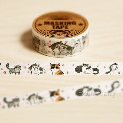 1Pc Washi Tape Paper Sticky Scrapbooking Adhesive Sticker Decor Cute Cats Style