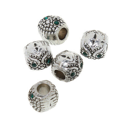 5Pcs silver bead Owl/Carved Flower/Big Hole/Shell European charms Bracelet