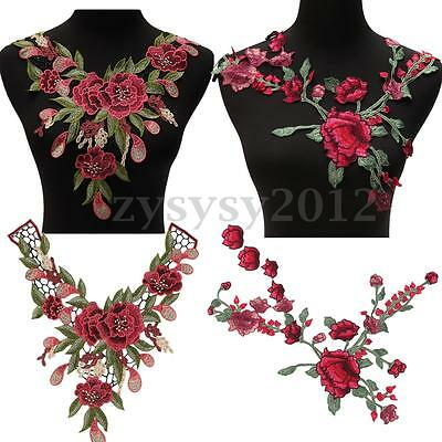 Rose Flower Cloth Collar Sew Patch Applique Badge Embroidered Bust Dress Craft