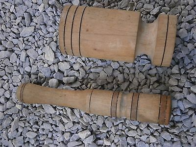 Old Rare Antique Wooden Mortar Pestle For Spices With Dark Patina