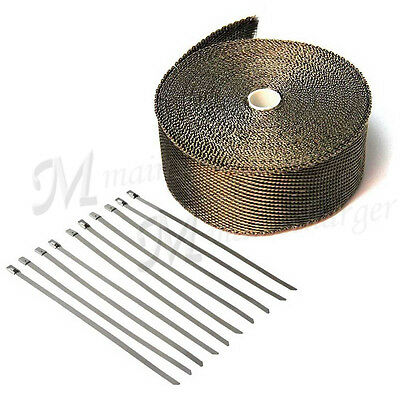 "2"" x High Quality Exhaust Manifold Downpipe Heat Wrap & 10 Ties Rap Titanium 10M"