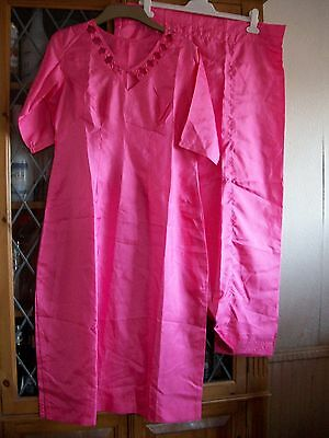 Hot Pink Indian Polyester Silk Tunic Top & Trousers Uk6-8 **gc**