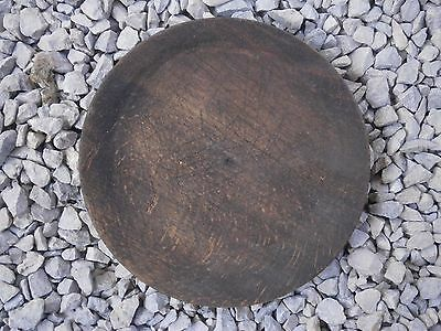 Antique Vintage Wooden Plate With Perfet Dark Patina