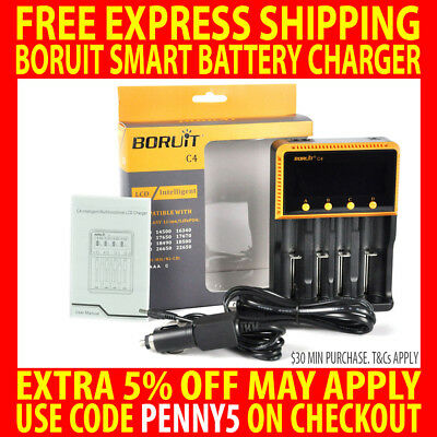 Genuine Boruit C4 Lcd Fast Battery Charger Smart Lifepo4 26650 22650 18650 Aaa