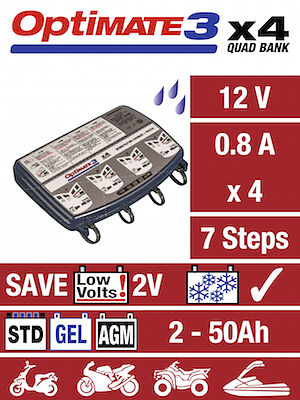 Optimate 3 x4 Bank 12V Motorcycle Battery Charger & Conditioner (NEW)