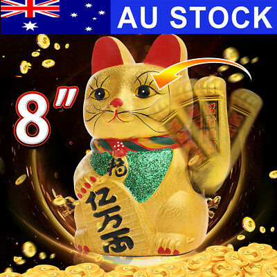 "8"" Fortune Cat Hand Waving Cat Gold Ceramic Beckoning Maneki Neko Lucky Wealth"