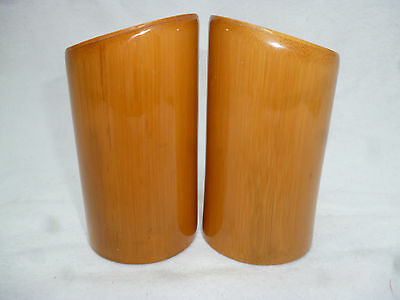 RETRO MID CENTURY POLISHED BAMBOO Salt & Pepper shakers - very good condition