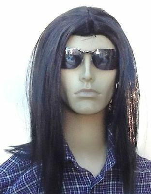 Men's Long Black  fancy Dress Wig (Middle Parting)