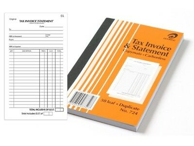 Olympic #724 Invoice & Statement Book Duplicate 200x125mm 50Lf 140870.