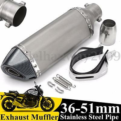 Universal 38-51mm Motorcycle Exhaust Muffler Pipe Removable Silencer Street Bike