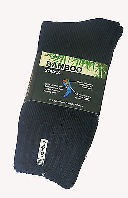 6 Prs Mens Sz 6-11 Navy 92% Bamboo Cushion Foot Extra Thick Work/Hiking Socks