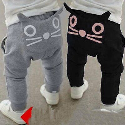 Toddler Kids Baby Boy Girls Cat Bottom Harem Pants Slacks Leggings Trousers 0-4Y