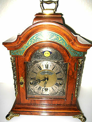 CARILLON 3 melodies BRACKET mantle CLOCK MOONPHASE WUBA WARMINK green banded 4/4