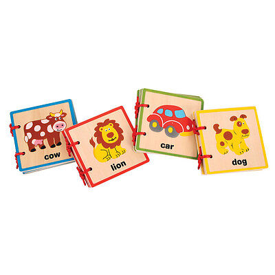 Brand New Set of 4 Wooden Baby Books - Farm Animals, Safari Animals, Pets & Toys