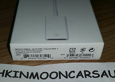 New Sealed Official Apple Lightning to USB Camera Adapter MD821ZM/A FREE UK P&P