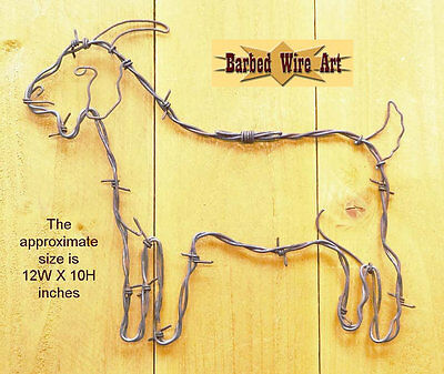 Goat - handmade decor Barbed wire art farm country chicken poultry brown metal